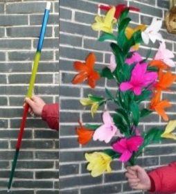 Rainbow Cane to Flower Разноцветная трость превращается в букет из 21 цветка